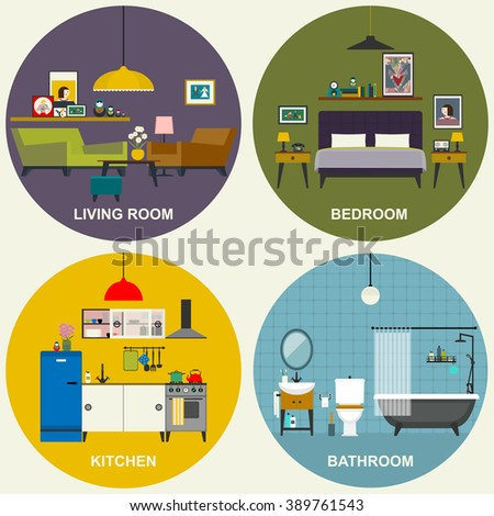 Interiors of living room, kitchen, bathroom and bedroom. Vector flat illustrations. Basic rooms of apartment. - stock vector