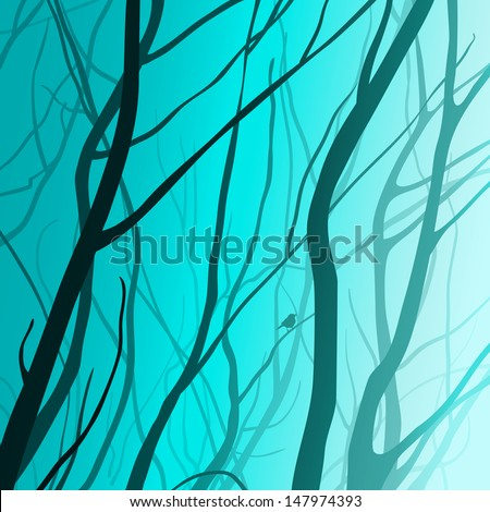 interlacing branches,  moonlight, vector illustration - stock vector