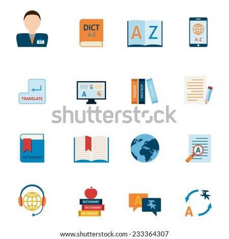 Interlengual synchronic translator mobile electronic device dictionary support alphabet apps flat icons set abstract isolated vector illustration - stock vector