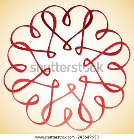 Interlinked Heart Circle in vector format. - stock vector
