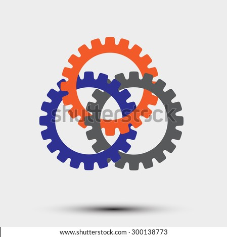 Interlocking gears  symbol of cooperation - stock vector