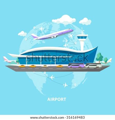 International airport. Flat design. - stock vector