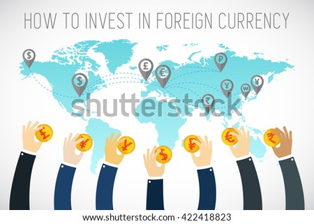 International business. Foreign currency investment. Businessman hands holding gold coins. Traders hands. Successful Trader. Stock market. Foreign currency exchange. flat illustration. - stock vector
