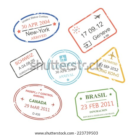 International business travel visa stamps set vector eps10 illustration - stock vector