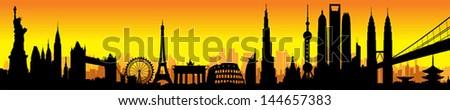 International City Sunset Skyline Silhouette vector artwork - stock vector