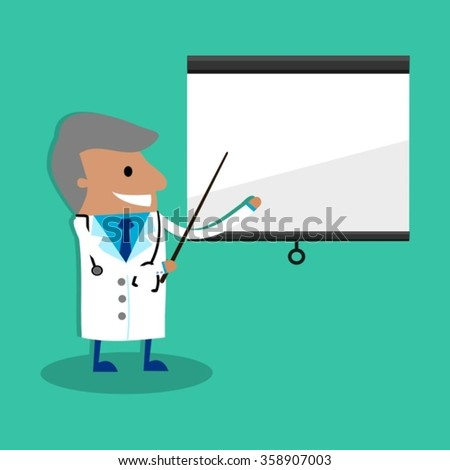 International Doctor Giving Presentation With Projection Screen - stock vector