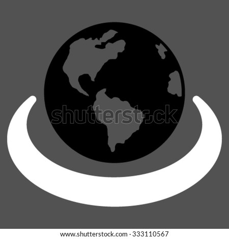 International Network vector icon. Style is bicolor flat symbol, black and white colors, rounded angles, gray background. - stock vector