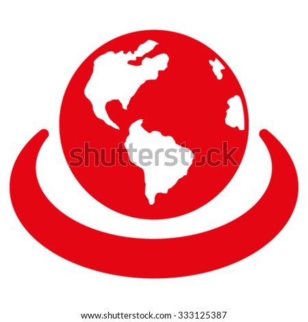 International Network vector icon. Style is flat symbol, red color, rounded angles, white background. - stock vector