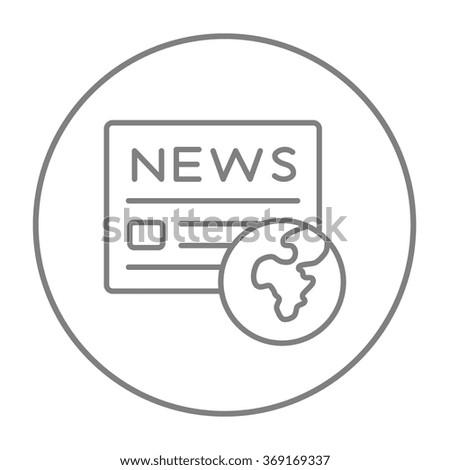 International newspaper line icon. - stock vector