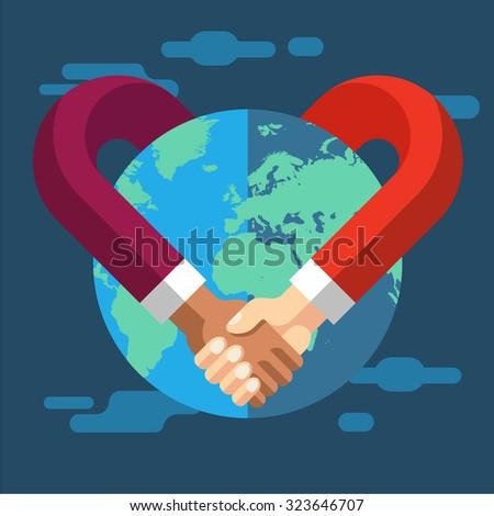 International Partnership. Vector flat illustration - stock vector