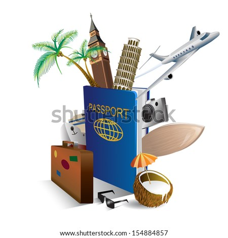International passport and elements of travel and attractions. Vector Illustration  - stock vector