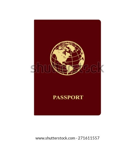 International red passport with icon of globe. Vector illustration. - stock vector