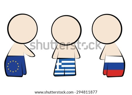 International relations Greece, European Union, Russia - stock vector
