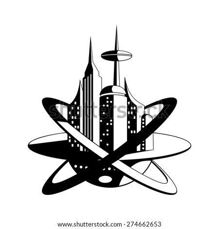 International space station of the future vector icon - stock vector