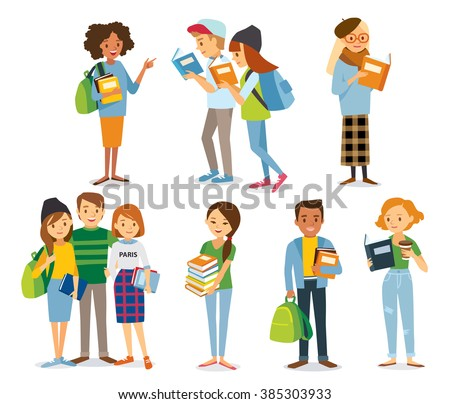 international students read the books - stock vector