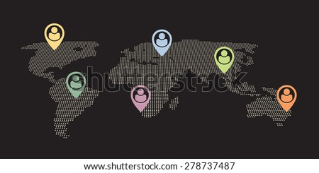 international team - people located around the world - stock vector