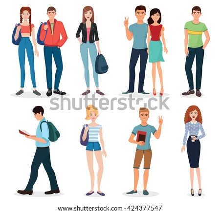 International young people students characters and couples collection. - stock vector