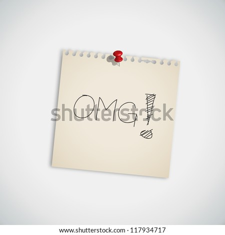 "Internet Acronym ""OMG""  Oh My God On Sticky Note Vector - stock vector"