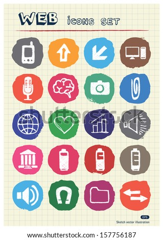Internet and media icons set drawn by chalk. Hand drawn vector elements pack isolated on paper - stock vector