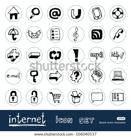 Internet and media icons set. Hand drawn sketch illustration isolated on white background - stock vector