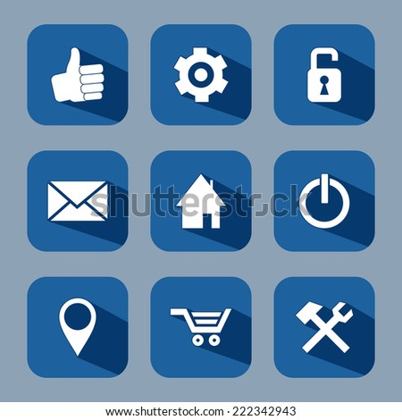 Internet and sale flat icons set with long shadow - stock vector