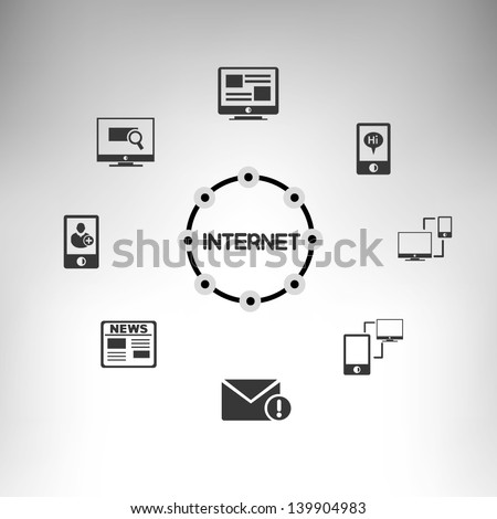 internet and social media link - stock vector