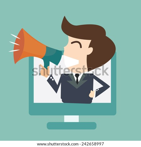 Internet announcement  -  laptop computer with  megaphone - stock vector