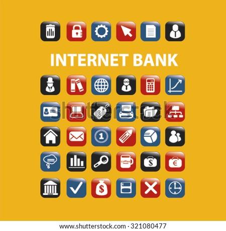 internet bank icons - stock vector