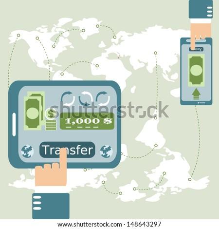 Internet Banking ,Vector cartoon business - stock vector
