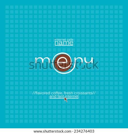Internet cafe menu card design. - stock vector