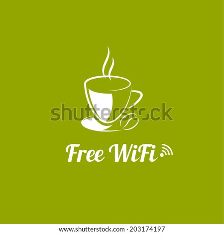 Internet cafes. Wireless free connection. wifi icons with a cup of hot coffee for remote access. poster design - stock vector