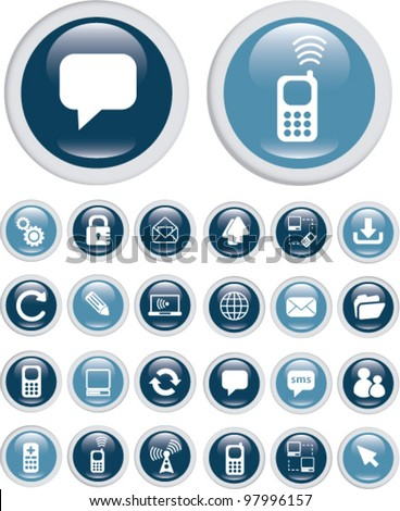 internet communication buttons, icons set, vector - stock vector