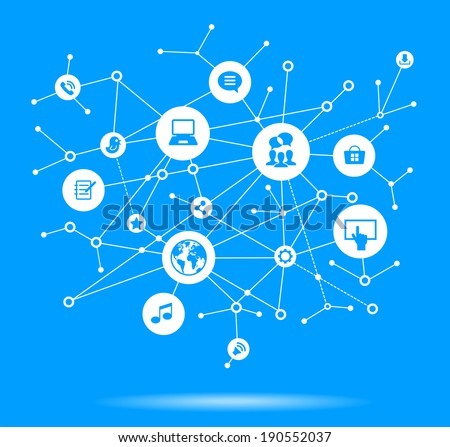 Internet concept. Network background with nodes, social media and communication icons.  File is saved in AI10 EPS version. This illustration contains a transparency  - stock vector