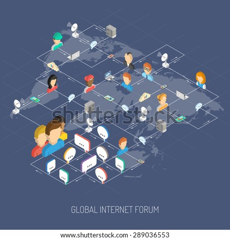 Internet forum concept with isometric people avatars speech bubbles and world map vector illustration - stock vector
