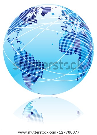 Internet globe. Globe with internet connection lines between world countries. - stock vector