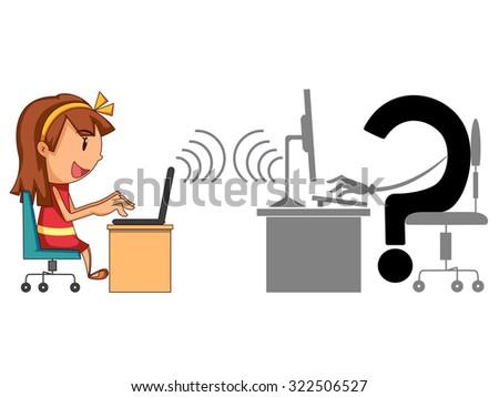 Internet hazards, children, concept, vector illustration - stock vector