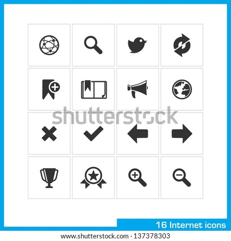 Internet icon set. For web, computer, mobile apps, interface design. - stock vector