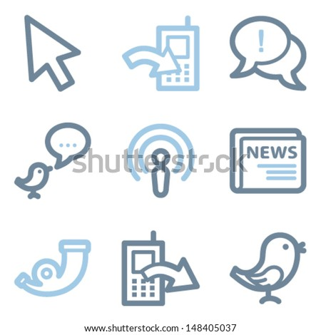 Internet icons, blue line contour series - stock vector