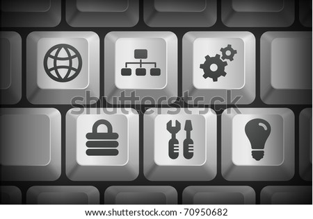 Internet Icons on Computer Keyboard Buttons Original Illustration - stock vector