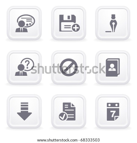 Internet icons on gray buttons 2 - stock vector