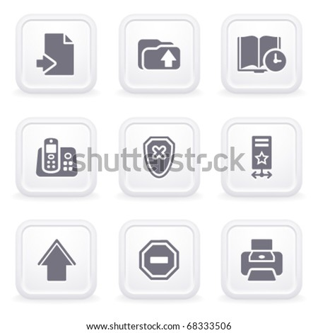 Internet icons on gray buttons 4 - stock vector