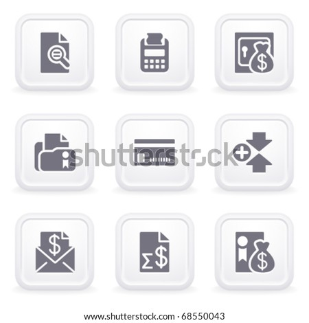 Internet icons on gray buttons 14 - stock vector