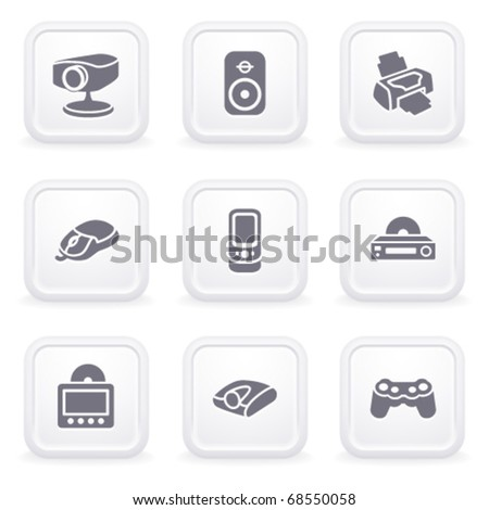Internet icons on gray buttons 21 - stock vector