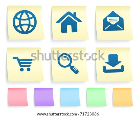 Internet Icons on Post It Note Paper Collection Original Illustration - stock vector