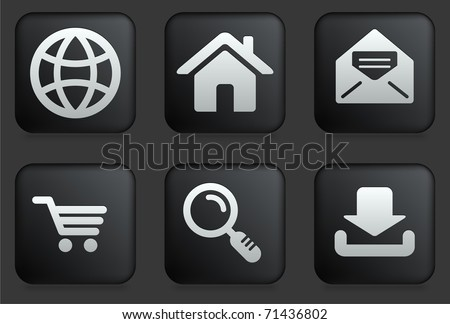 Internet Icons on Square Black Button Collection Original Illustration - stock vector