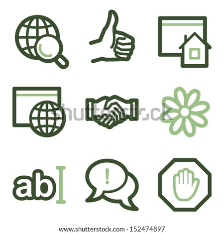 Internet icons set 1, green line contour series - stock vector