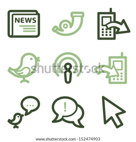 Internet icons set 2, green line contour series - stock vector