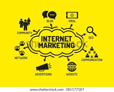 Internet Marketing. Chart with keywords and icons on yellow background - stock vector