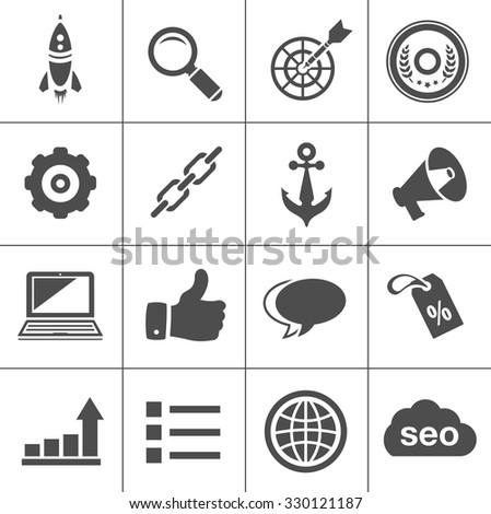 Internet marketing icons - SEO - Search engine optimization  - stock vector
