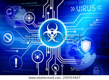 Internet network with virus vector - stock vector